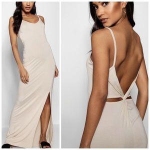 NWT Nude Sand Cross Back High Slit Maxi Dress | 4